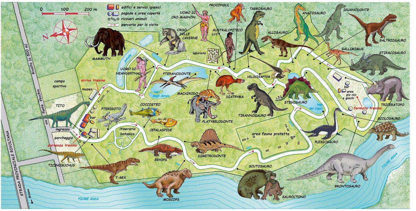 Mappa del parco parco della preistoria - Ci mappa da colorare pagina di mappa ...